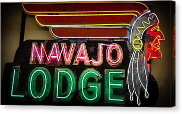 The Navajo Lodge Sign In Prescott Arizona Canvas Print by David Patterson