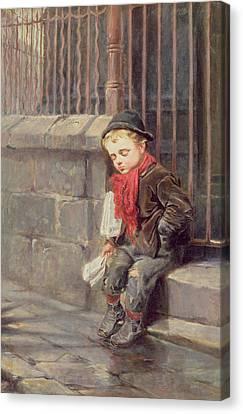 The News Boy Canvas Print by Ralph Hedley