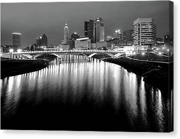 The Night Lights Of Columbus Ohio's Skyline Reflections Canvas Print by Gregory Ballos