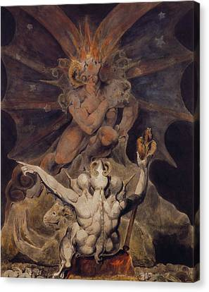 The Number Of The Beast Is 666 Canvas Print by William Blake