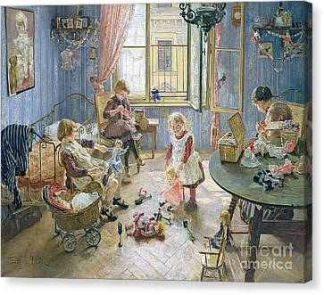 The Nursery Canvas Print by Fritz von Uhde