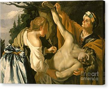 The Nursing Of Saint Sebastian Canvas Print by Theodore van Baburen