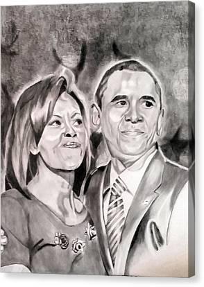 The Obamas Canvas Print by Nina Carpenter