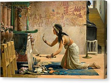 The Obsequies Of An Egyptian Cat Canvas Print by John Reinhard Weguelin