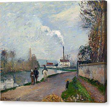 The Oise Near Pontoise In Grey Weather Canvas Print by Mountain Dreams