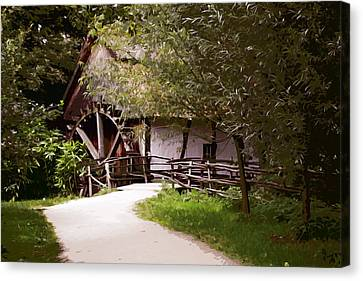 The Old Grist Mill Canvas Print by Elaine Plesser