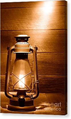 The Old Lamp - Sepia Canvas Print by Olivier Le Queinec