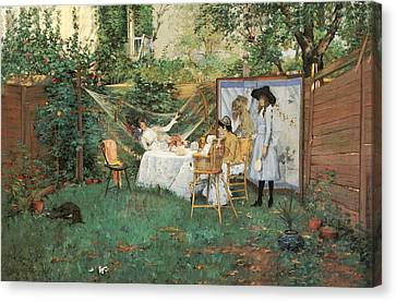 The Open Air Breakfast Canvas Print by William Merritt Chase
