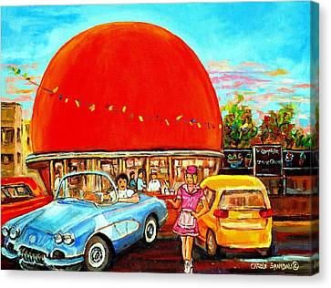 The Orange Julep Montreal Canvas Print by Carole Spandau