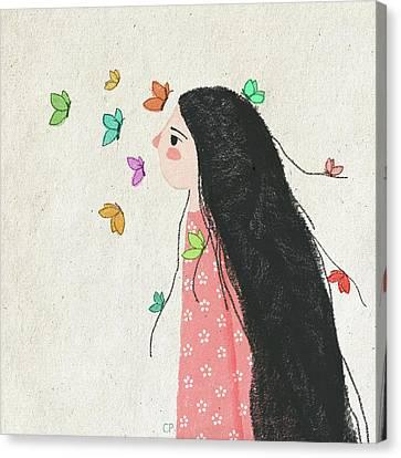 The Origin Of My Messy Hair Canvas Print by Carolina Parada