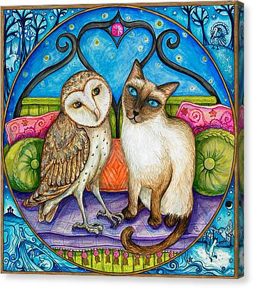 The Owl And The Pussycat Canvas Print by Joanna Dover