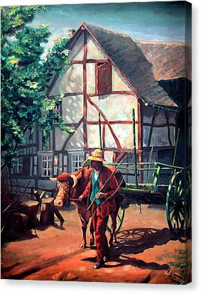 The Ox Cart Canvas Print by Hanne Lore Koehler