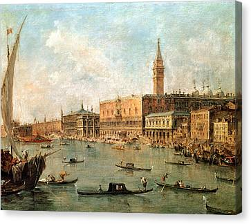 The Palace And The Molo From The Basin Of San Marco Canvas Print by Francesco Guardi