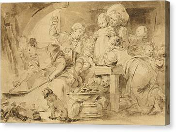 The Pancake Maker  Canvas Print by Jean-Honore Fragonard