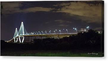 The Path Above The Ships Arthur Ravenel Jr Bridge Charleston South Carolina Canvas Print by Reid Callaway