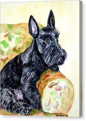 The Perfect Guest - Scottish Terrier Canvas Print by Lyn Cook