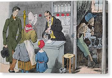 The Pharmacist And His Assistant Canvas Print by Grandville