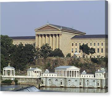 The Philly Art Museum And Waterworks Canvas Print by Bill Cannon