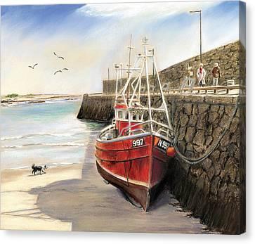 The Pier At Spiddal Galway Ireland Canvas Print by Irish Art