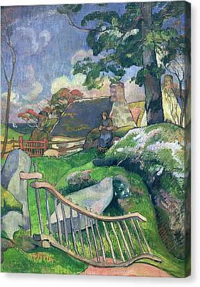 The Pig Keeper Canvas Print by Paul Gauguin