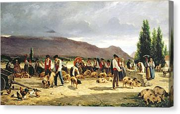 The Pig Market Canvas Print by Pierre Edmond Alexandre Hedouin