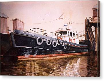 The Pilot Boat Canvas Print by Marguerite Chadwick-Juner