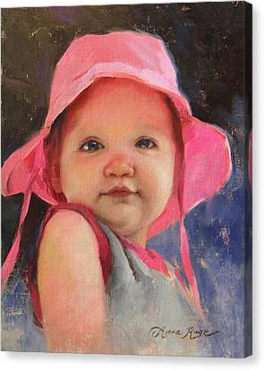 The Pink Hat - Cecelia At 11 Months Canvas Print by Anna Rose Bain