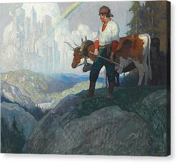The Pioneer And The Vision Canvas Print by Newell Convers Wyeth