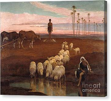 The Ploughman And The Shepherdess Canvas Print by MotionAge Designs
