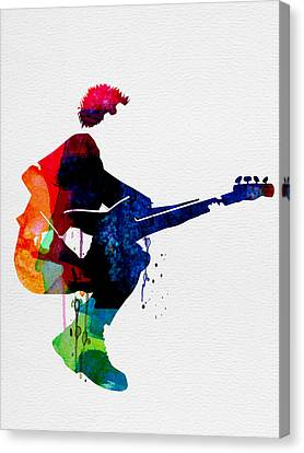 The Police Watercolor Canvas Print by Naxart Studio