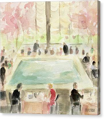 The Pool Room At The Four Seasons New York Canvas Print by Beverly Brown Prints