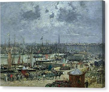 The Port Of Bordeaux Canvas Print by Eugene Louis Boudin