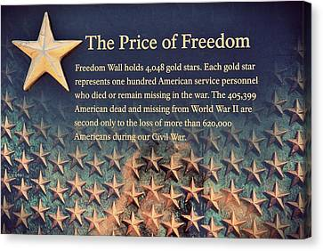 The Price Of Freedom Canvas Print by Marianna Mills