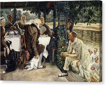 The Prodigal Son In Modern Life  The Fatted Calf Canvas Print by James Jacques Joseph Tissot