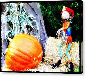 the Pumpkin and the Scarecrow Canvas Print by Bill Cannon