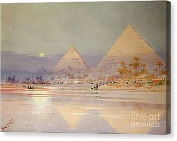 The Pyramids At Dusk Canvas Print by Augustus Osborne Lamplough