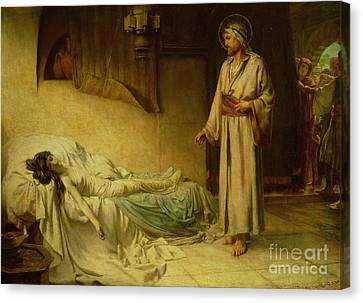 The Raising Of Jairus's Daughter Canvas Print by George Percy Jacomb-Hood