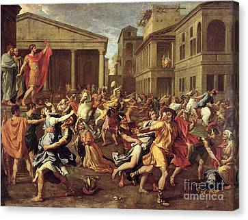 The Rape Of The Sabines Canvas Print by Nicolas Poussin