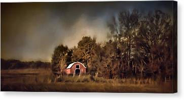The Red Barn Welcomes Autumn Canvas Print by Jai Johnson