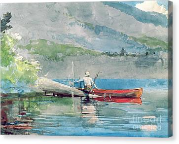 The Red Canoe Canvas Print by Winslow Homer