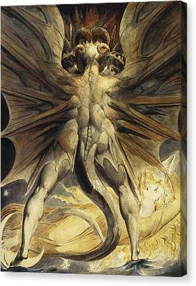 The Red Dragon And The Woman Clothed In Sun Canvas Print by William Blake