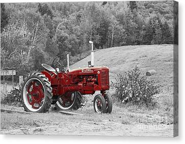 The Red Tractor Canvas Print by Aimelle