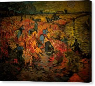 The Red Vineyard By Van Gogh Revisited Canvas Print by Leonardo Digenio