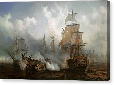 The Redoutable In The Battle Of Trafalgar, October 21, 1805 Canvas Print by Auguste Etienne Francois Mayer