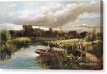The Reed Cutter Canvas Print by MotionAge Designs