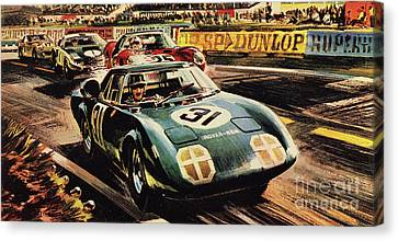 The Revolutionary Rover Brm At The Famous Le Mans Racing Track In 1963 Canvas Print by Wilf Hardy