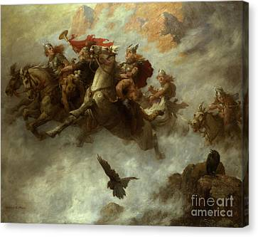 The Ride Of The Valkyries  Canvas Print by William T Maud