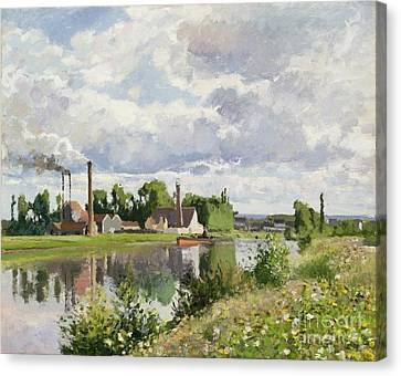 The River Oise Near Pontoise Canvas Print by Camille Pissarro