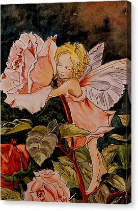 The Rose Fairy After Cicely Mary Barker Canvas Print by Betty-Anne McDonald