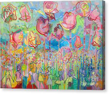 The Rose Garden, Love Wins Canvas Print by Kimberly Santini